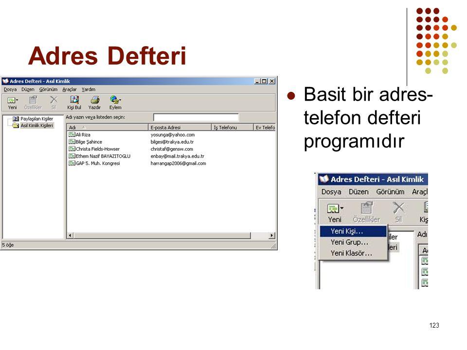 Adres Defteri  Basit bir adres- telefon defteri programıdır 123