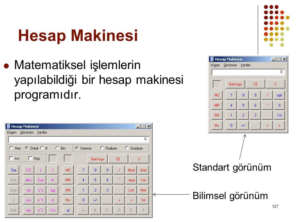 Hesap Makinesi  Matematiksel işlemlerin yapılabildiği bir hesap makinesi programıdır.