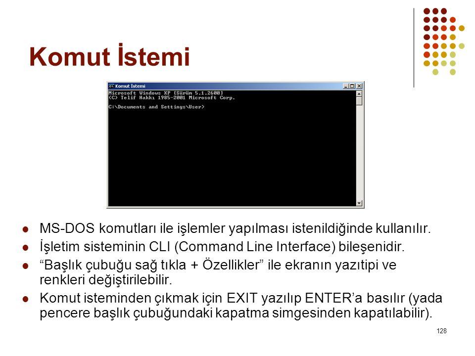 Komut İstemi  MS-DOS komutları ile işlemler yapılması istenildiğinde kullanılır.