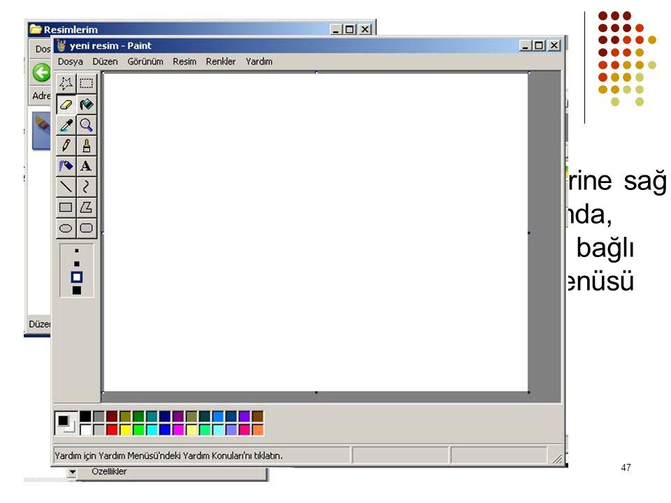 Dosya simgelerine sağ tuşla tıklandığında, dosyanın tipine bağlı özel sağ tuş menüsü açılır 47