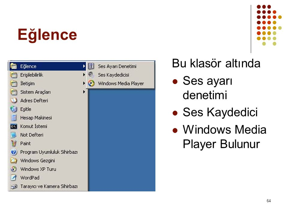 Eğlence Bu klasör altında  Ses ayarı denetimi  Ses Kaydedici  Windows Media Player Bulunur 64