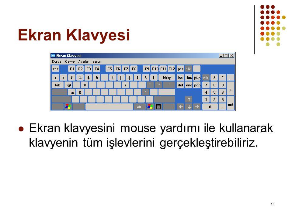 Ekran Klavyesi  Ekran klavyesini mouse yardımı ile kullanarak klavyenin tüm işlevlerini gerçekleştirebiliriz.