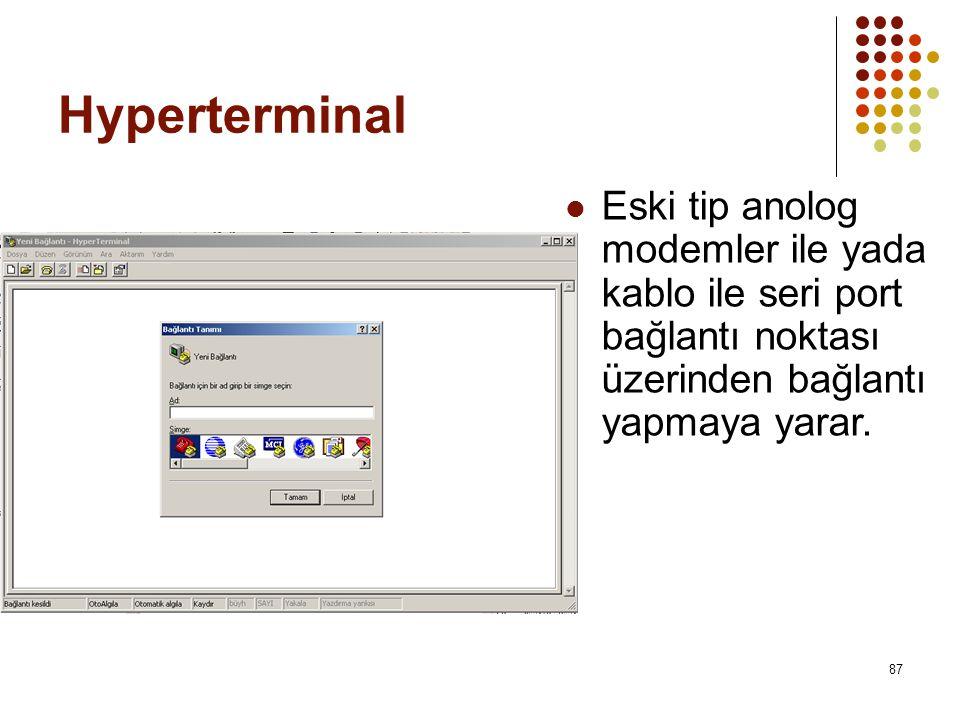 Hyperterminal  Eski tip anolog modemler ile yada kablo ile seri port bağlantı noktası üzerinden bağlantı yapmaya yarar.