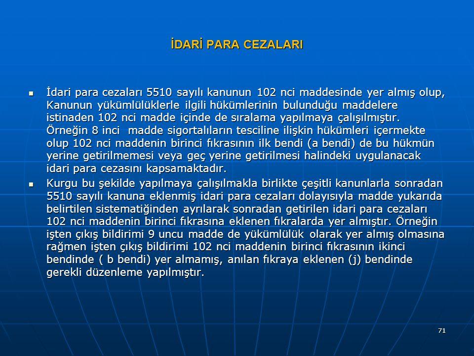 İDARİ PARA CEZALARI  İdari para cezaları 5510 sayılı kanunun 102 nci maddesinde yer almış olup, Kanunun yükümlülüklerle ilgili hükümlerinin bulunduğu maddelere istinaden 102 nci madde içinde de sıralama yapılmaya çalışılmıştır.