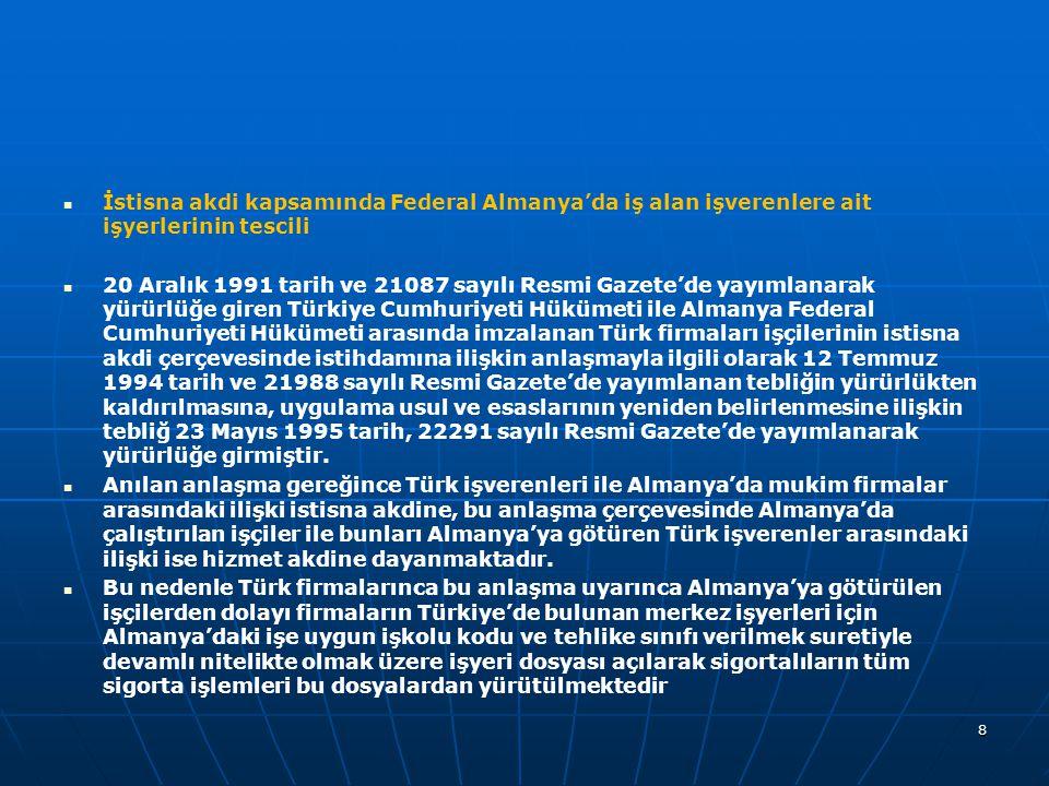   İstisna akdi kapsamında Federal Almanya'da iş alan işverenlere ait işyerlerinin tescili   20 Aralık 1991 tarih ve 21087 sayılı Resmi Gazete'de yayımlanarak yürürlüğe giren Türkiye Cumhuriyeti Hükümeti ile Almanya Federal Cumhuriyeti Hükümeti arasında imzalanan Türk firmaları işçilerinin istisna akdi çerçevesinde istihdamına ilişkin anlaşmayla ilgili olarak 12 Temmuz 1994 tarih ve 21988 sayılı Resmi Gazete'de yayımlanan tebliğin yürürlükten kaldırılmasına, uygulama usul ve esaslarının yeniden belirlenmesine ilişkin tebliğ 23 Mayıs 1995 tarih, 22291 sayılı Resmi Gazete'de yayımlanarak yürürlüğe girmiştir.