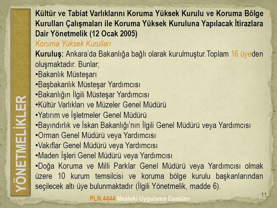 YÖNETMELİKLER PLN.4444 Mesleki Uygulama Esasları 11 Kültür ve Tabiat Varlıklarını Koruma Yüksek Kurulu ve Koruma Bölge Kurulları Çalışmaları ile Koruma Yüksek Kuruluna Yapılacak İtirazlara Dair Yönetmelik (12 Ocak 2005) Koruma Yüksek Kurulları Kuruluş: Ankara'da Bakanlığa bağlı olarak kurulmuştur.Toplam 16 üyeden oluşmaktadır.