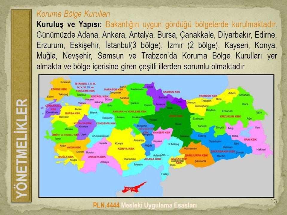 YÖNETMELİKLER PLN.4444 Mesleki Uygulama Esasları 13 Koruma Bölge Kurulları Kuruluş ve Yapısı: Bakanlığın uygun gördüğü bölgelerde kurulmaktadır.