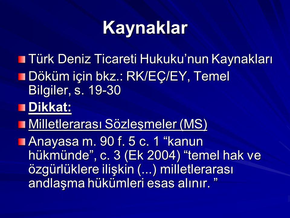 Kaynaklar Türk Deniz Ticareti Hukuku'nun Kaynakları Döküm için bkz.: RK/EÇ/EY, Temel Bilgiler, s. 19-30 Dikkat: Milletlerarası Sözleşmeler (MS) Anayas