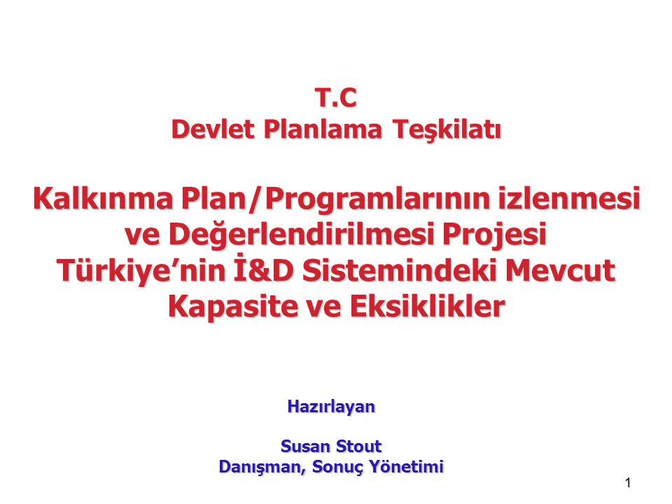 1 T.C Devlet Planlama Teşkilatı Kalkınma Plan/Programlarının izlenmesi ve Değerlendirilmesi Projesi Türkiye'nin İ&D Sistemindeki Mevcut Kapasite ve Ek