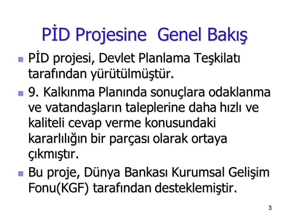 PİD Projesine Genel Bakış  PİD projesi, Devlet Planlama Teşkilatı tarafından yürütülmüştür.  9. Kalkınma Planında sonuçlara odaklanma ve vatandaşlar