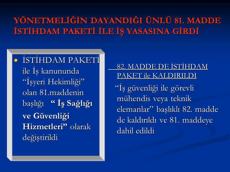 YÖNETMELİĞİN DAYANDIĞI ÜNLÜ 81.