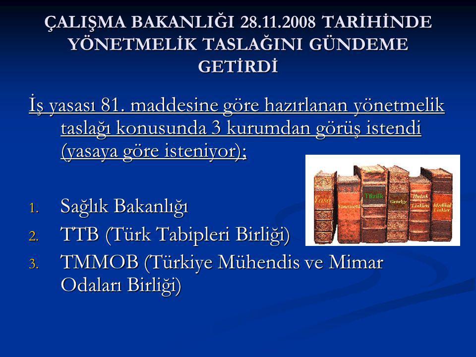 ÇALIŞMA BAKANLIĞI 28.11.2008 TARİHİNDE YÖNETMELİK TASLAĞINI GÜNDEME GETİRDİ İş yasası 81.