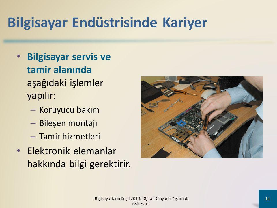 Bilgisayar Endüstrisinde Kariyer • Bilgisayar servis ve tamir alanında aşağıdaki işlemler yapılır: – Koruyucu bakım – Bileşen montajı – Tamir hizmetleri • Elektronik elemanlar hakkında bilgi gerektirir.