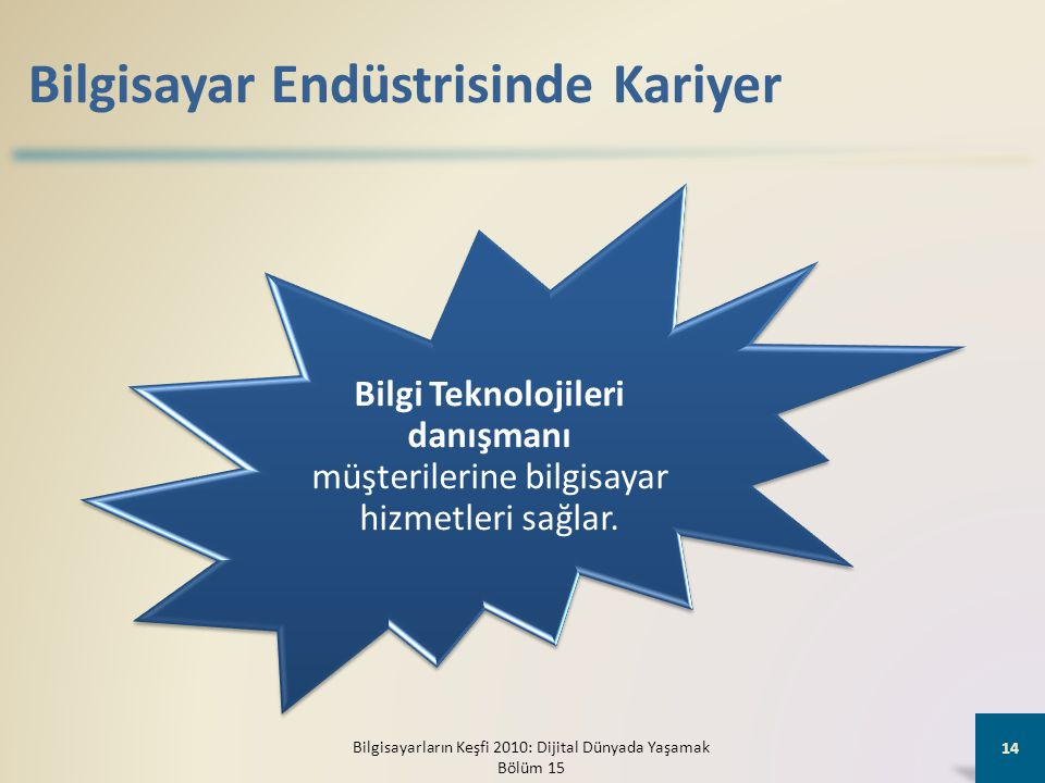 Bilgisayar Endüstrisinde Kariyer Bilgi Teknolojileri danışmanı müşterilerine bilgisayar hizmetleri sağlar. Bilgisayarların Keşfi 2010: Dijital Dünyada