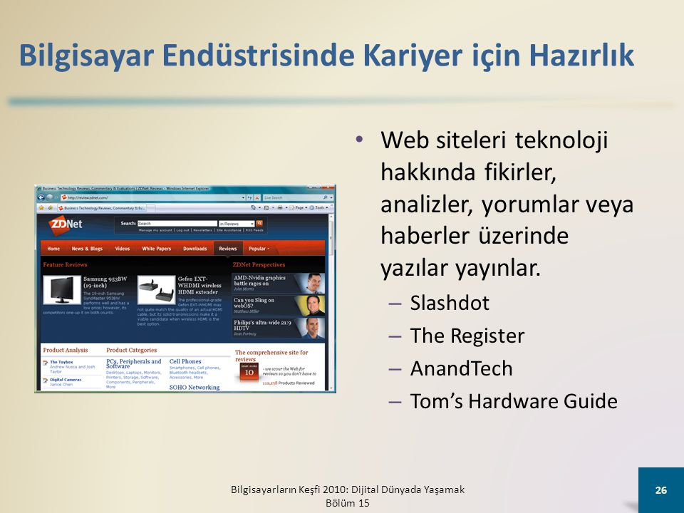Bilgisayar Endüstrisinde Kariyer için Hazırlık • Web siteleri teknoloji hakkında fikirler, analizler, yorumlar veya haberler üzerinde yazılar yayınlar.