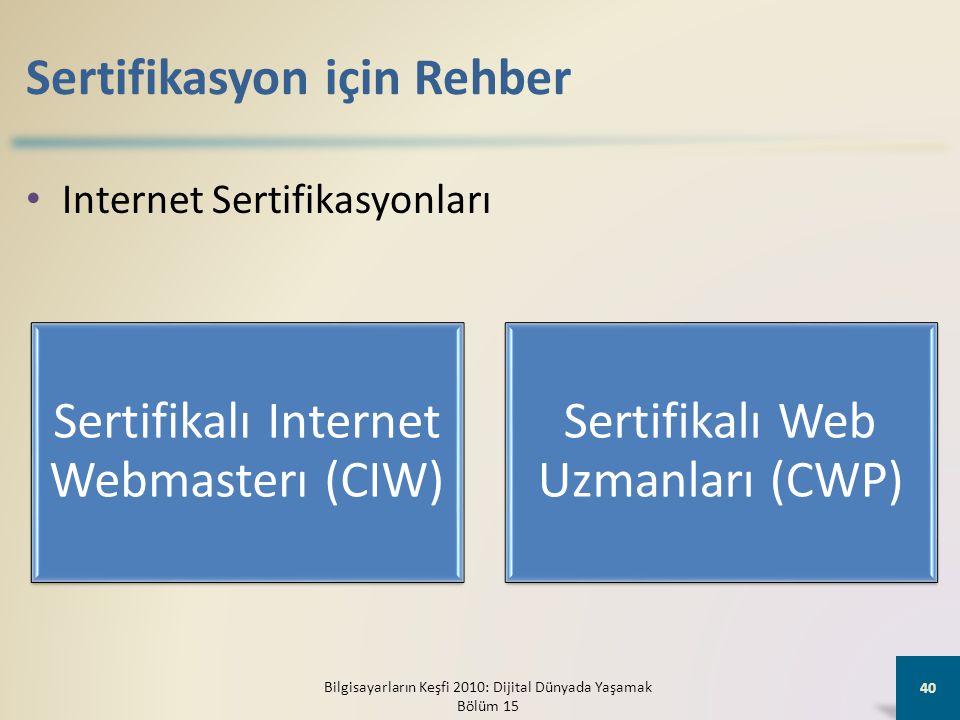 Sertifikasyon için Rehber • Internet Sertifikasyonları Bilgisayarların Keşfi 2010: Dijital Dünyada Yaşamak Bölüm 15 40 Sertifikalı Internet Webmasterı (CIW) Sertifikalı Web Uzmanları (CWP)