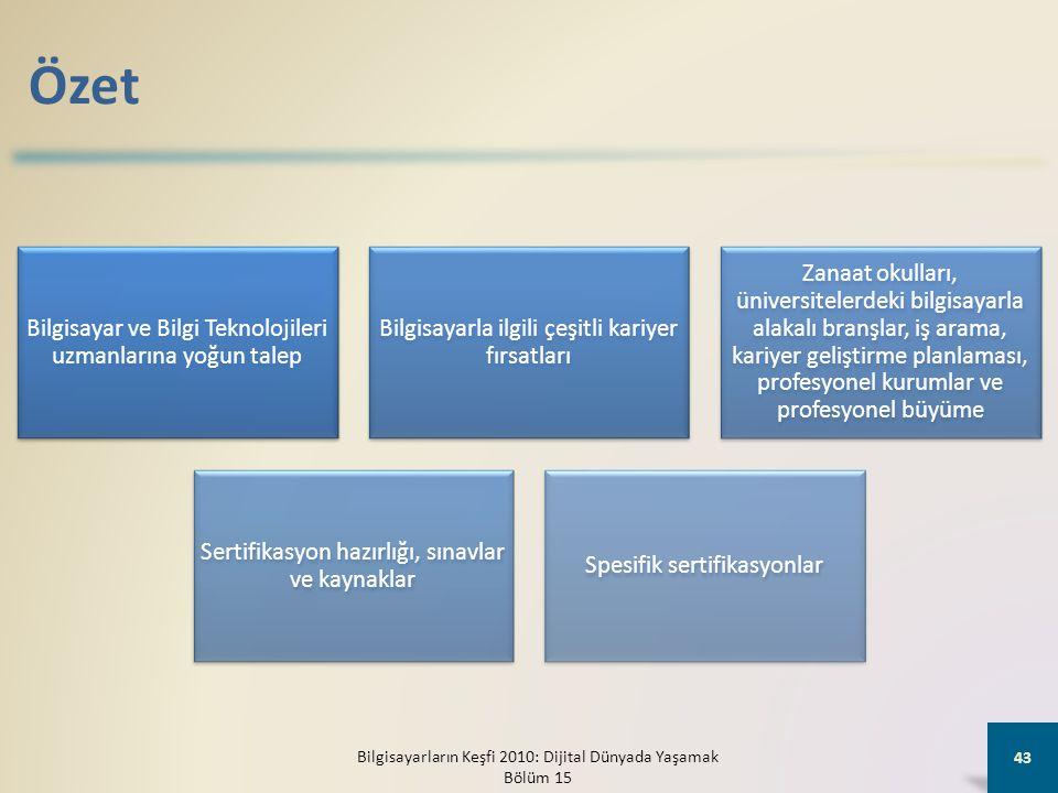Özet Bilgisayar ve Bilgi Teknolojileri uzmanlarına yoğun talep Bilgisayarla ilgili çeşitli kariyer fırsatları Zanaat okulları, üniversitelerdeki bilgisayarla alakalı branşlar, iş arama, kariyer geliştirme planlaması, profesyonel kurumlar ve profesyonel büyüme Sertifikasyon hazırlığı, sınavlar ve kaynaklar Spesifik sertifikasyonlar Bilgisayarların Keşfi 2010: Dijital Dünyada Yaşamak Bölüm 15 43