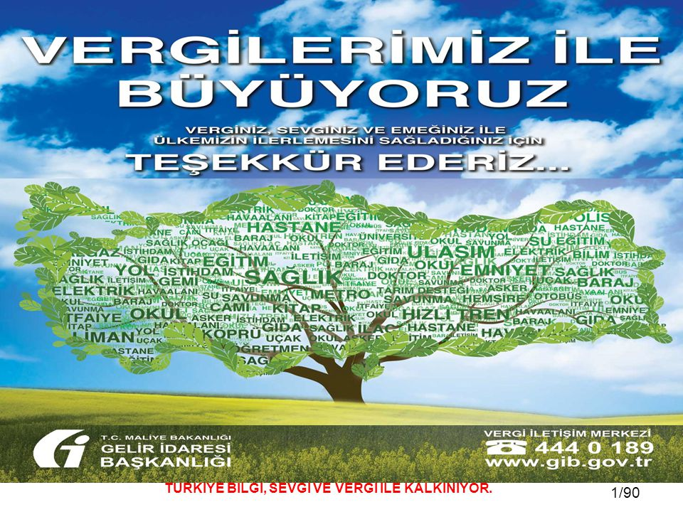 12 / 81 12/90 TÜRKİYE BİLGİ, SEVGİ VE VERGİ İLE KALKINIYOR.