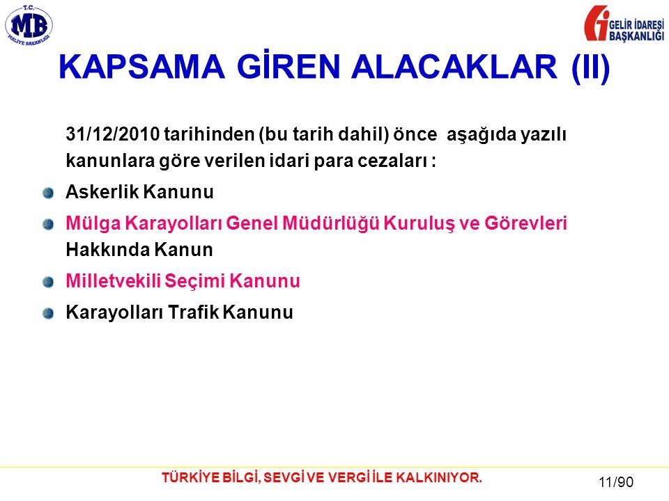 11 / 81 11/90 TÜRKİYE BİLGİ, SEVGİ VE VERGİ İLE KALKINIYOR.