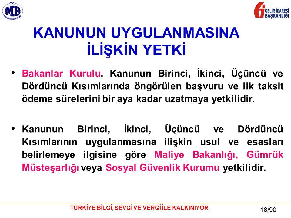 16 / 81 16/90 TÜRKİYE BİLGİ, SEVGİ VE VERGİ İLE KALKINIYOR.