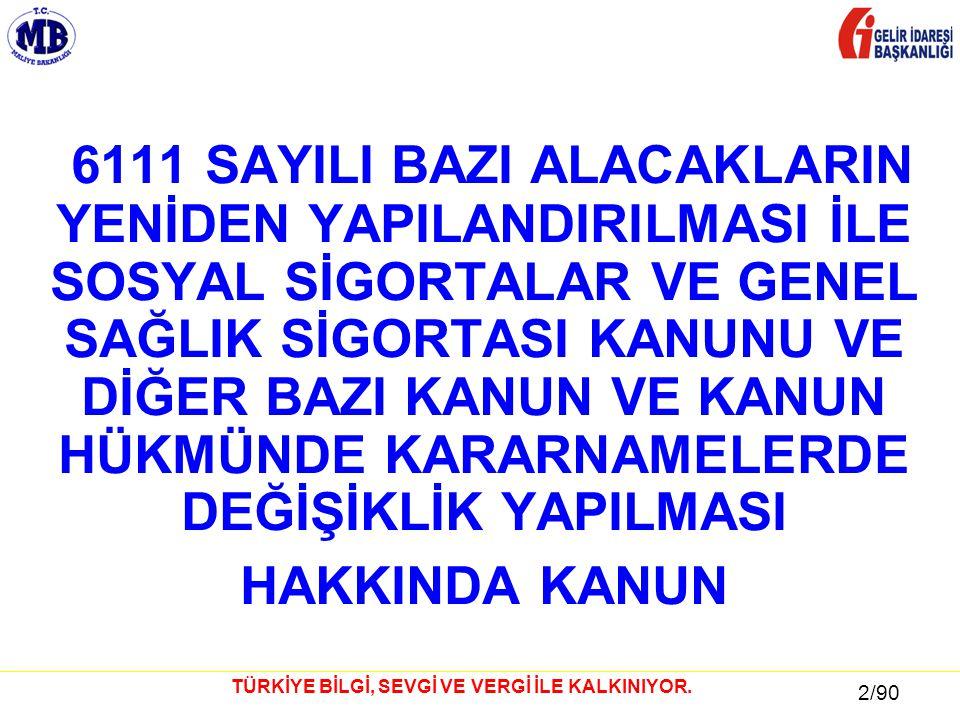 13 / 81 13/90 TÜRKİYE BİLGİ, SEVGİ VE VERGİ İLE KALKINIYOR.