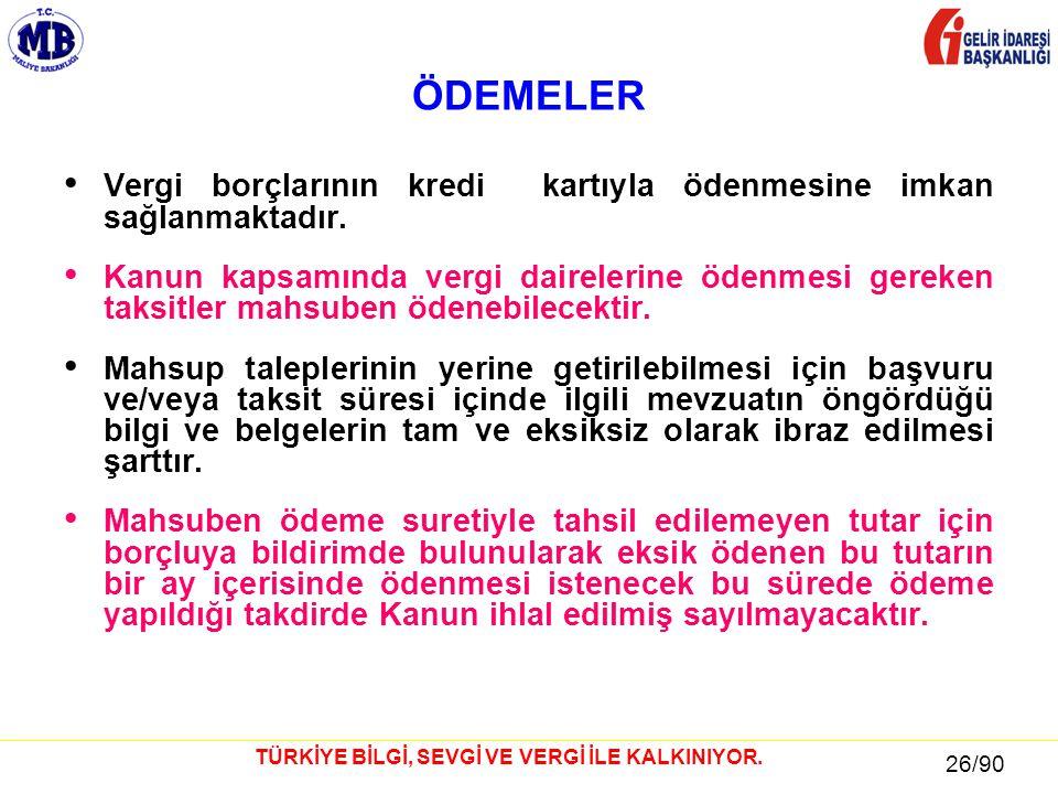 26 / 81 26/90 TÜRKİYE BİLGİ, SEVGİ VE VERGİ İLE KALKINIYOR.