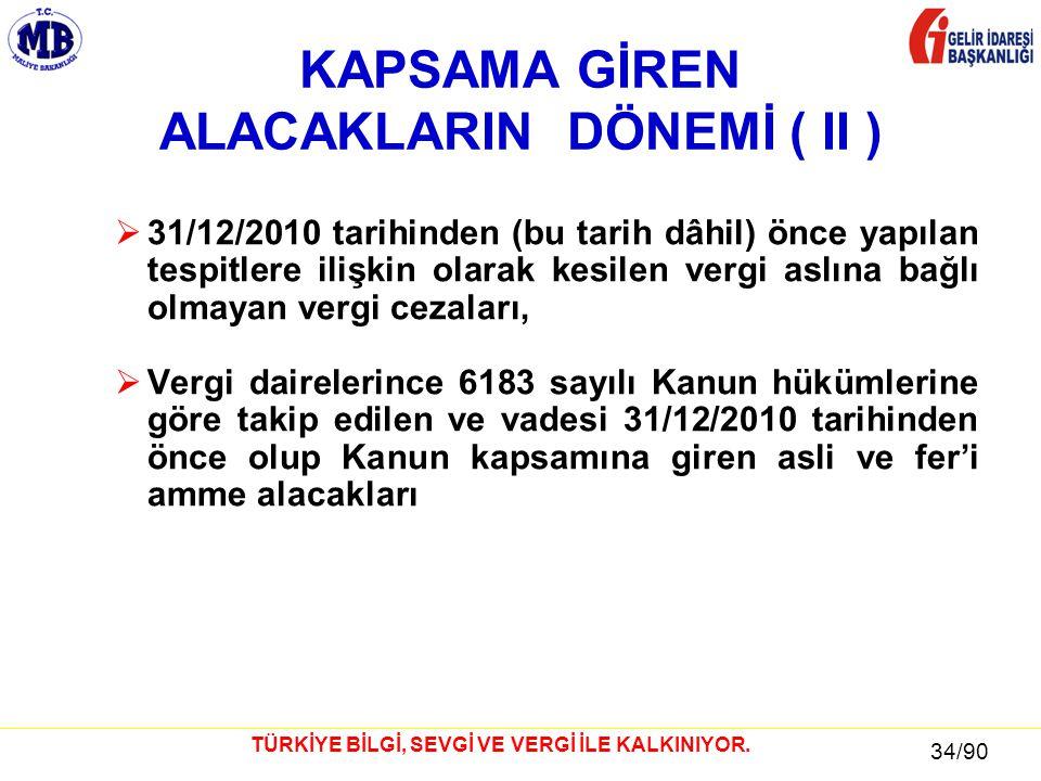 34 / 81 34/90 TÜRKİYE BİLGİ, SEVGİ VE VERGİ İLE KALKINIYOR. KAPSAMA GİREN ALACAKLARIN DÖNEMİ ( II )  31/12/2010 tarihinden (bu tarih dâhil) önce yapı