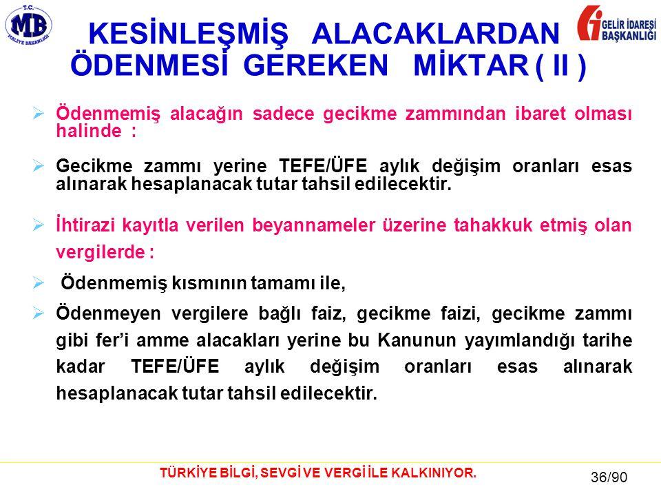 36 / 81 36/90 TÜRKİYE BİLGİ, SEVGİ VE VERGİ İLE KALKINIYOR.