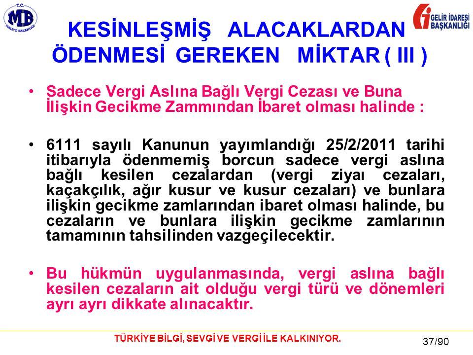 37 / 81 37/90 TÜRKİYE BİLGİ, SEVGİ VE VERGİ İLE KALKINIYOR.