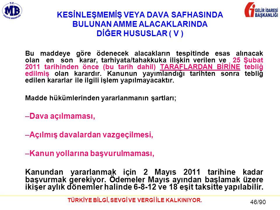 46 / 81 46/90 TÜRKİYE BİLGİ, SEVGİ VE VERGİ İLE KALKINIYOR. KESİNLEŞMEMİŞ VEYA DAVA SAFHASINDA BULUNAN AMME ALACAKLARINDA DİĞER HUSUSLAR ( V ) Bu madd