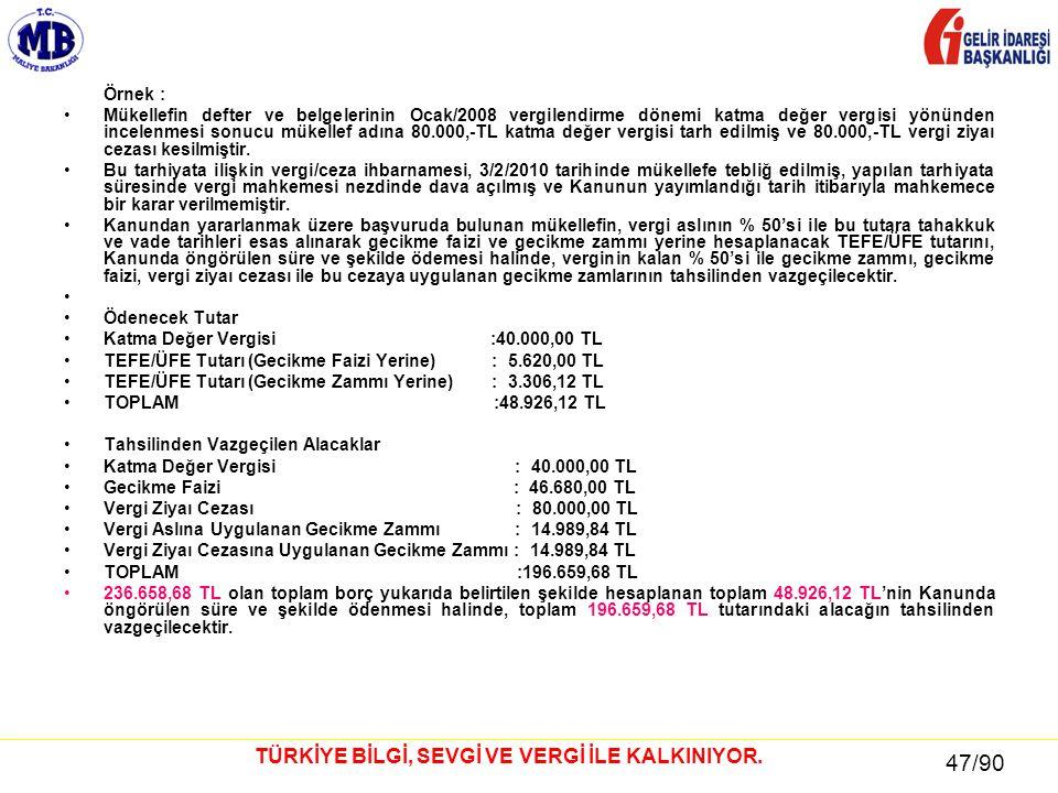 47 / 81 47/90 TÜRKİYE BİLGİ, SEVGİ VE VERGİ İLE KALKINIYOR. Örnek : •Mükellefin defter ve belgelerinin Ocak/2008 vergilendirme dönemi katma değer verg