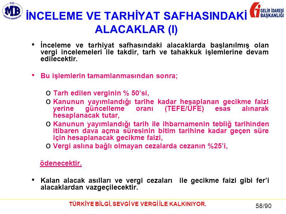 58 / 81 58/90 TÜRKİYE BİLGİ, SEVGİ VE VERGİ İLE KALKINIYOR.