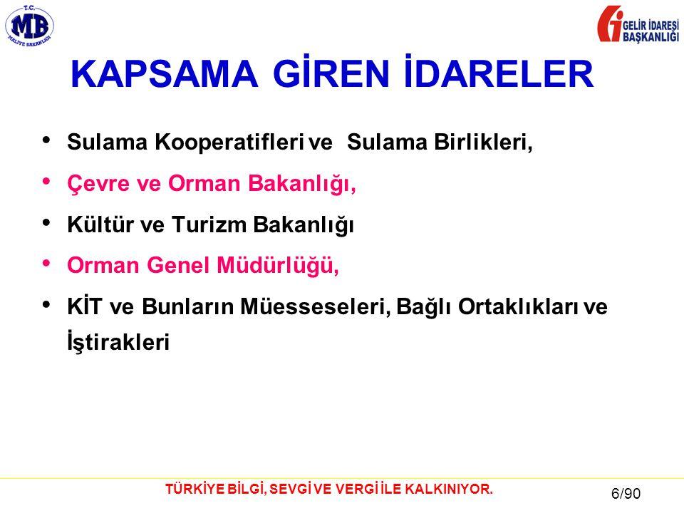 17 / 81 17/90 TÜRKİYE BİLGİ, SEVGİ VE VERGİ İLE KALKINIYOR.