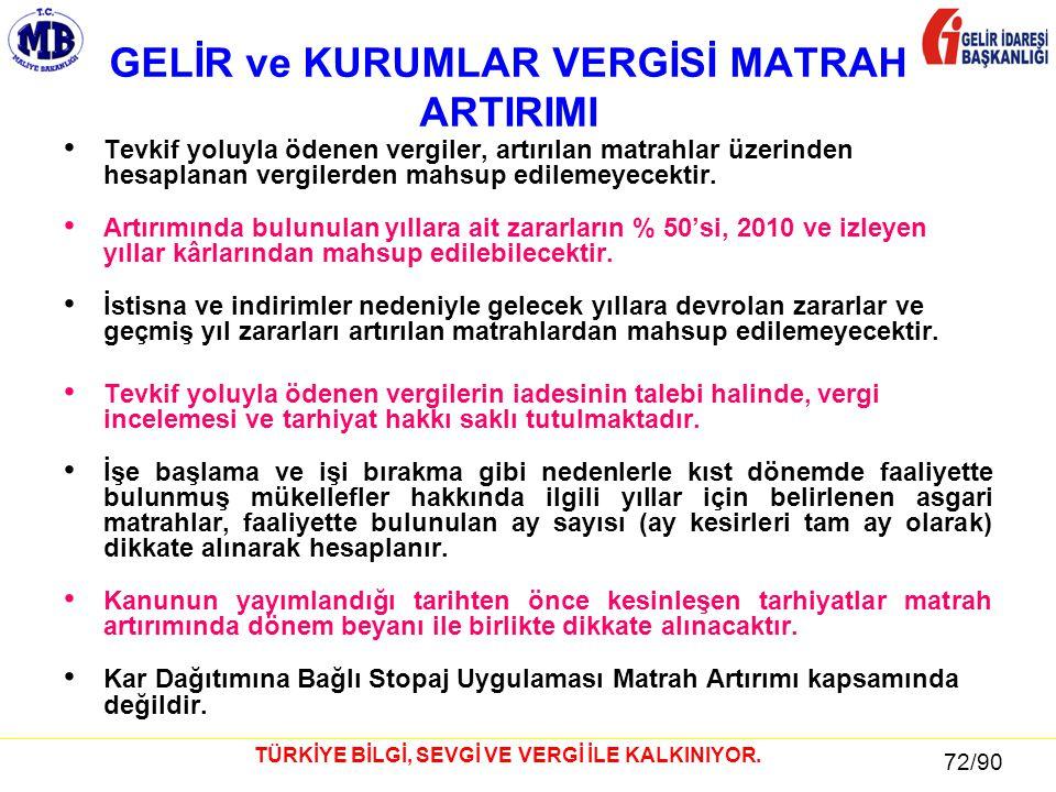 72 / 81 72/90 TÜRKİYE BİLGİ, SEVGİ VE VERGİ İLE KALKINIYOR.