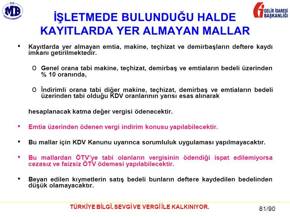 81 / 81 81/90 TÜRKİYE BİLGİ, SEVGİ VE VERGİ İLE KALKINIYOR.