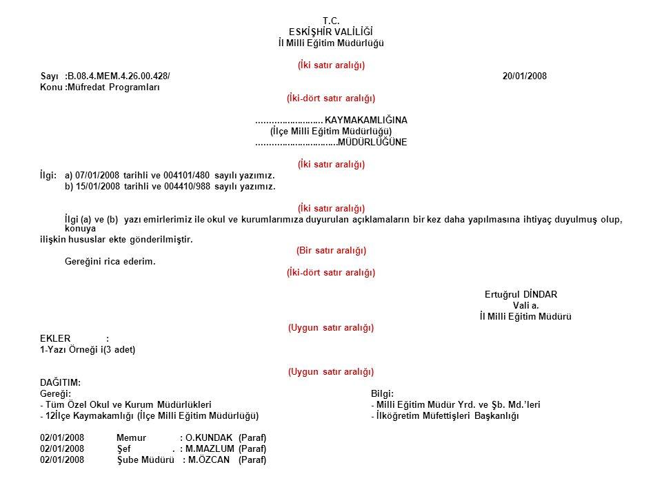 T.C. ESKİŞHİR VALİLİĞİ İl Milli Eğitim Müdürlüğü (İki satır aralığı) Sayı:B.08.4.MEM.4.26.00.428/ 20/01/2008 Konu:Müfredat Programları (İki-dört satır
