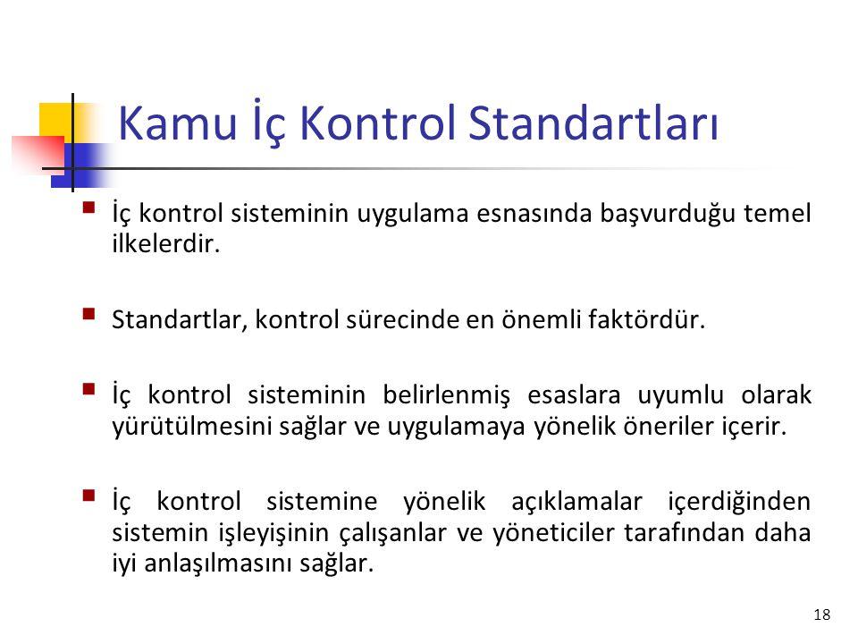 18 Kamu İç Kontrol Standartları  İç kontrol sisteminin uygulama esnasında başvurduğu temel ilkelerdir.  Standartlar, kontrol sürecinde en önemli fak
