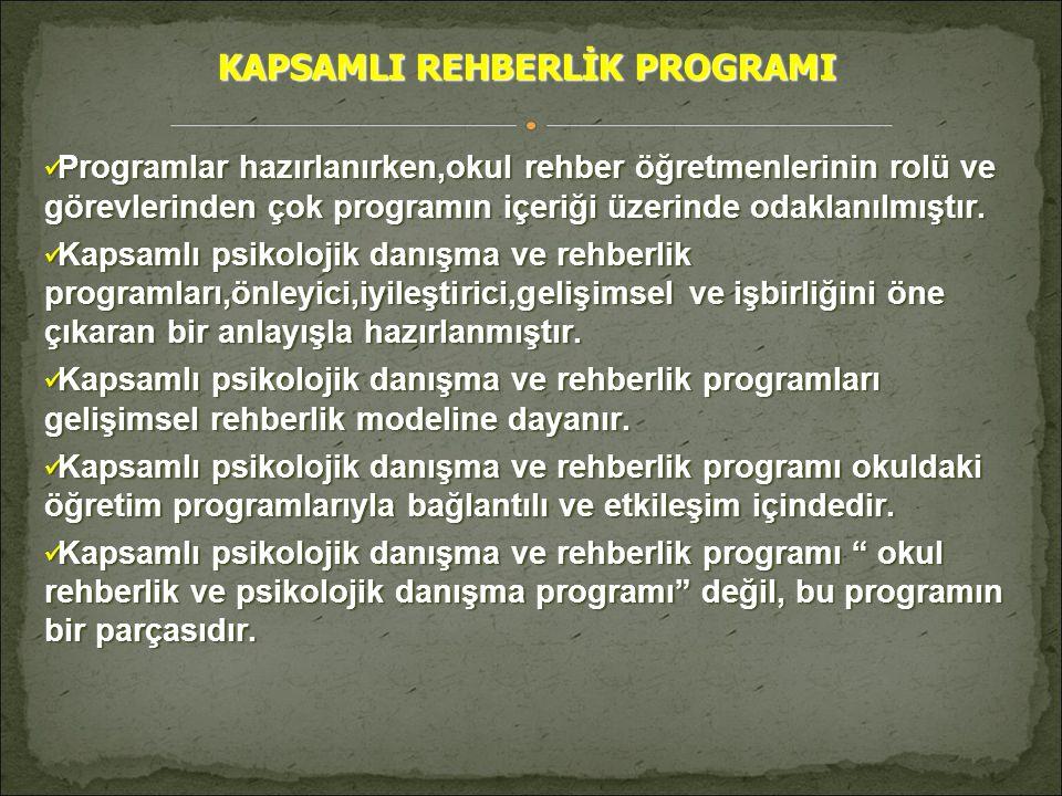 KAPSAMLI REHBERLİK PROGRAMI  Programlar hazırlanırken,okul rehber öğretmenlerinin rolü ve görevlerinden çok programın içeriği üzerinde odaklanılmıştı