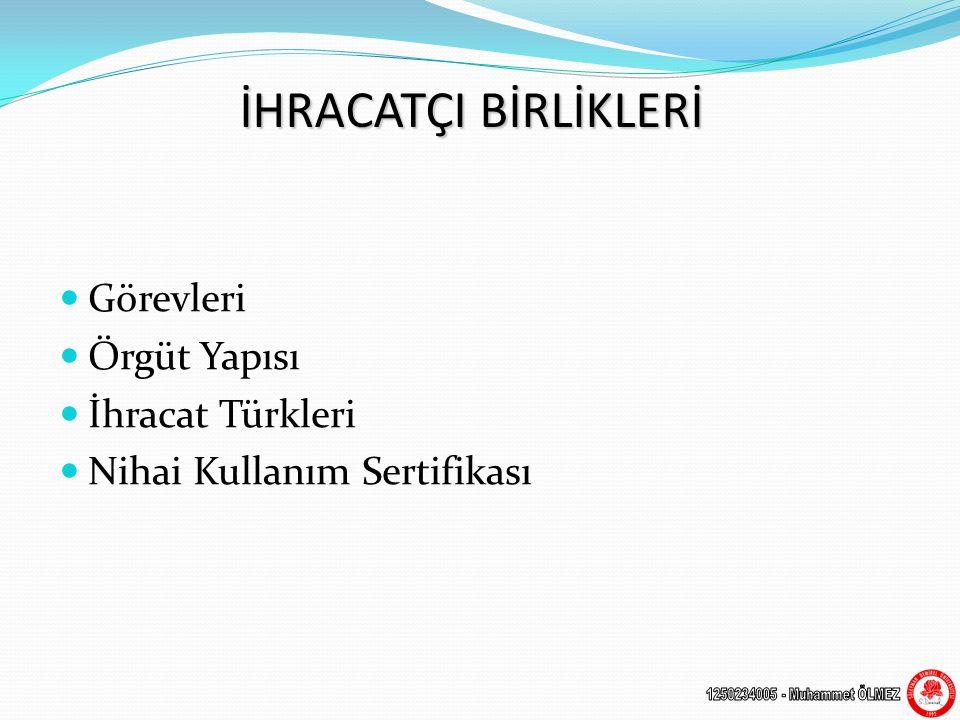 İHRACATÇI BİRLİKLERİ  Görevleri  Örgüt Yapısı  İhracat Türkleri  Nihai Kullanım Sertifikası