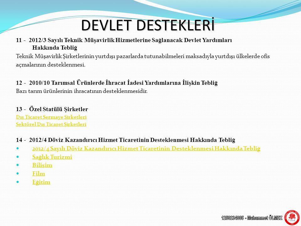 DEVLET DESTEKLERİ 11 - 2012/3 Sayılı Teknik Müşavirlik Hizmetlerine Sağlanacak Devlet Yardımları Hakkında Tebliğ Teknik Müşavirlik Şirketlerinin yurtdışı pazarlarda tutunabilmeleri maksadıyla yurtdışı ülkelerde ofis açmalarının desteklenmesi.