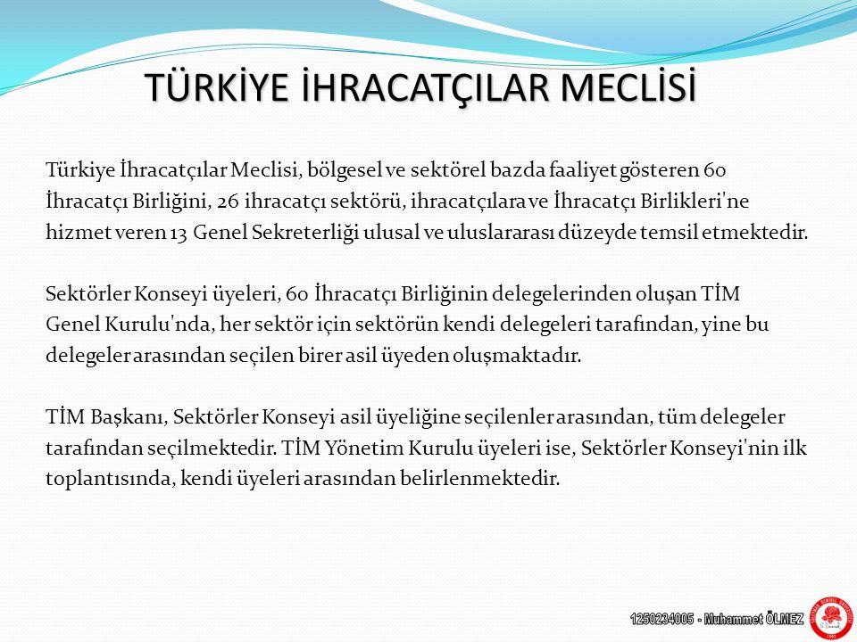 TÜRKİYE İHRACATÇILAR MECLİSİ Türkiye İhracatçılar Meclisi, bölgesel ve sektörel bazda faaliyet gösteren 60 İhracatçı Birliğini, 26 ihracatçı sektörü, ihracatçılara ve İhracatçı Birlikleri ne hizmet veren 13 Genel Sekreterliği ulusal ve uluslararası düzeyde temsil etmektedir.