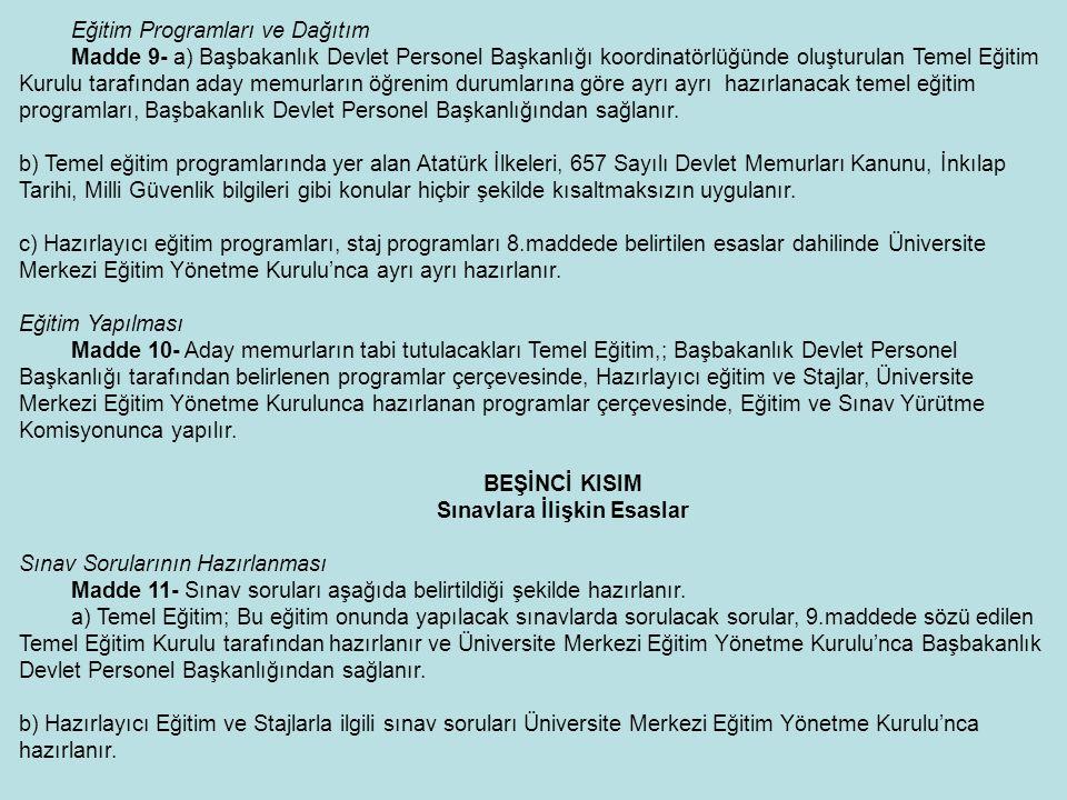 Eğitim Programları ve Dağıtım Madde 9- a) Başbakanlık Devlet Personel Başkanlığı koordinatörlüğünde oluşturulan Temel Eğitim Kurulu tarafından aday me
