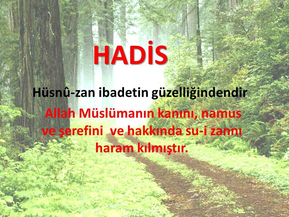HADİS Hüsnû-zan ibadetin güzelliğindendir Allah Müslümanın kanını, namus ve şerefini ve hakkında su-i zannı haram kılmıştır.