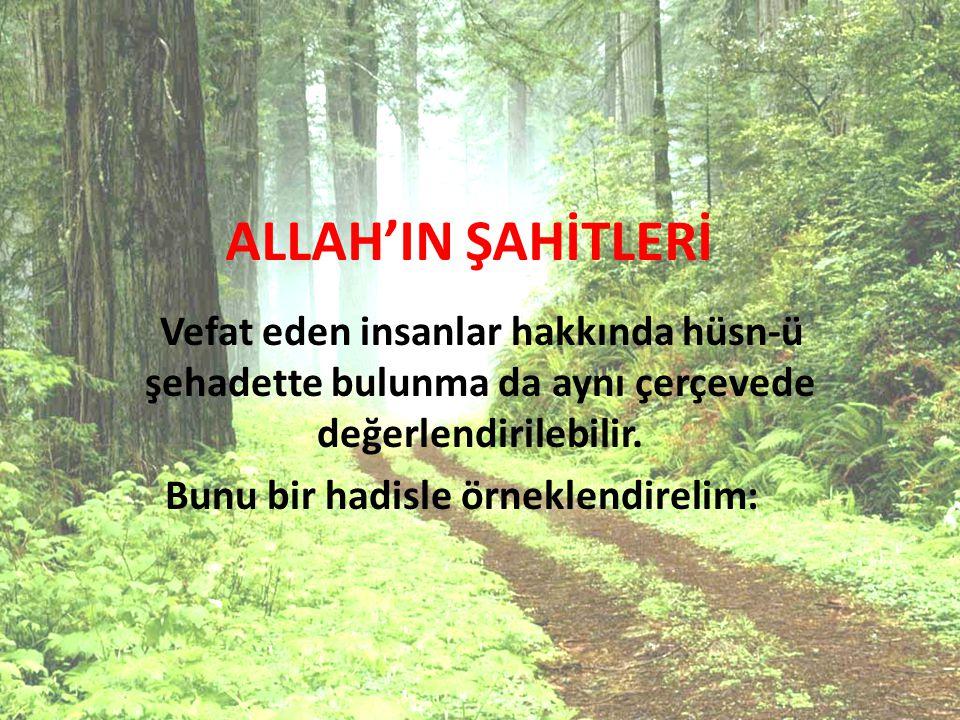 ALLAH'IN ŞAHİTLERİ Vefat eden insanlar hakkında hüsn-ü şehadette bulunma da aynı çerçevede değerlendirilebilir.