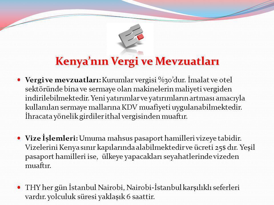 Kenya'nın Vergi ve Mevzuatları  Vergi ve mevzuatları: Kurumlar vergisi %30'dur. İmalat ve otel sektöründe bina ve sermaye olan makinelerin maliyeti v
