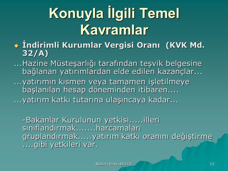 Kidem Ymm Ltd.Şti 12 Konuyla İlgili Temel Kavramlar  İndirimli Kurumlar Vergisi Oranı (KVK Md. 32/A)...Hazine Müsteşarlığı tarafından teşvik belgesin