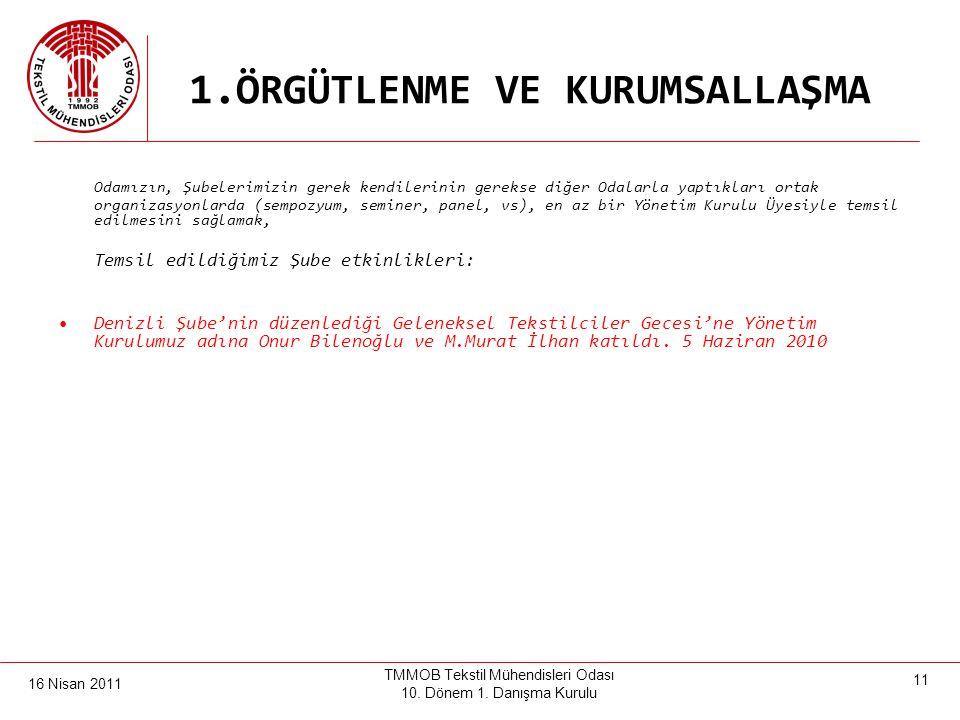 16 Nisan 2011 TMMOB Tekstil Mühendisleri Odası 10. Dönem 1.Danışma Kurulu 10 1.ÖRGÜTLENME VE KURUMSALLAŞMA Ankara, Isparta, Tekirdağ ve Çorlu'da il/il