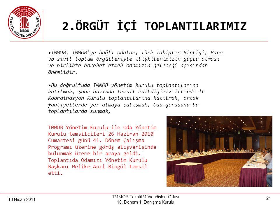 16 Nisan 2011 TMMOB Tekstil Mühendisleri Odası 10. Dönem 1. Danışma Kurulu 20 2.ÖRGÜT İÇİ TOPLANTILARIMIZ TMMOB 41. Olağanüstü Genel Kurulu, 24-25 Eyl