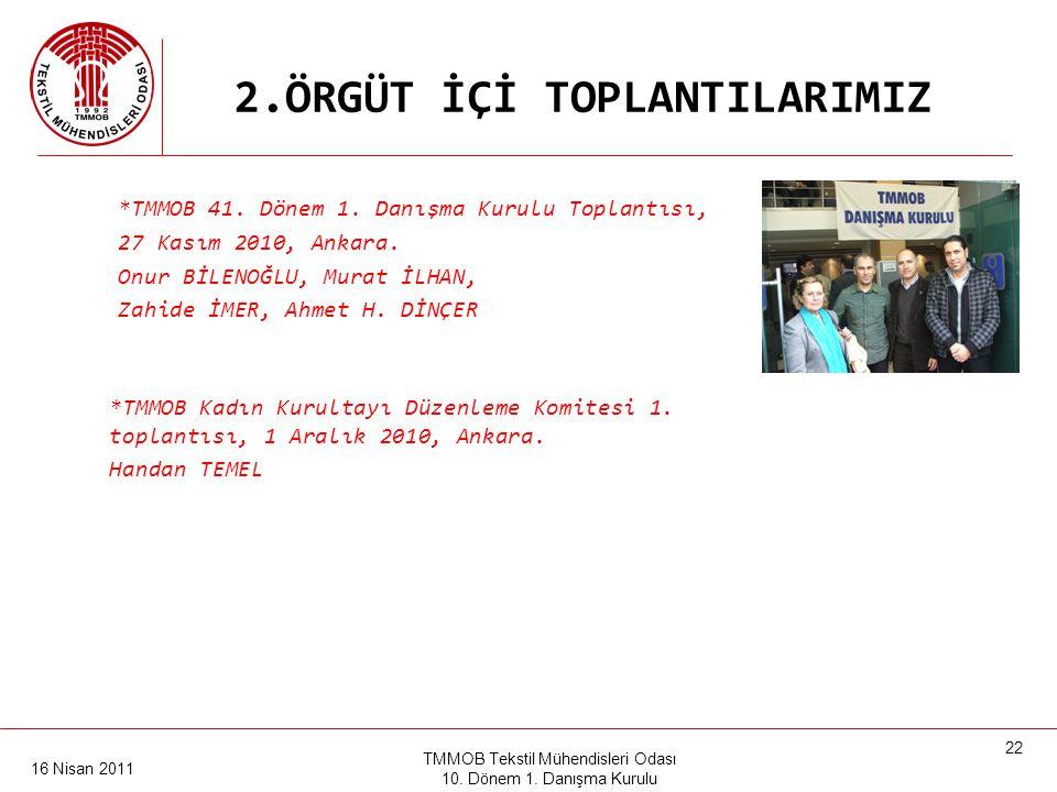 16 Nisan 2011 TMMOB Tekstil Mühendisleri Odası 10. Dönem 1. Danışma Kurulu 21 2.ÖRGÜT İÇİ TOPLANTILARIMIZ •TMMOB, TMMOB'ye bağlı odalar, Türk Tabipler
