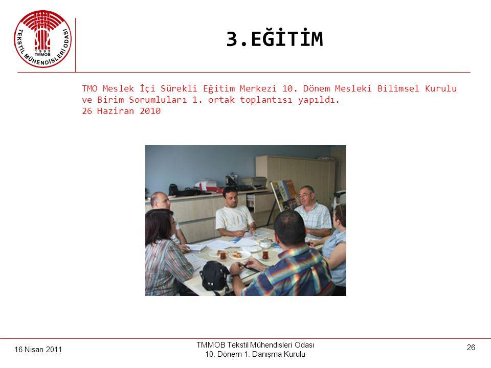 16 Nisan 2011 TMMOB Tekstil Mühendisleri Odası 10. Dönem 1. Danışma Kurulu 25 3.EĞİTİM Üyelerimize ve sektöre yönelik uzmanlık dallarına göre sertifik